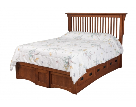 Mission Queen Pedestal Bed w/ 6 Drawers 3 each side Image