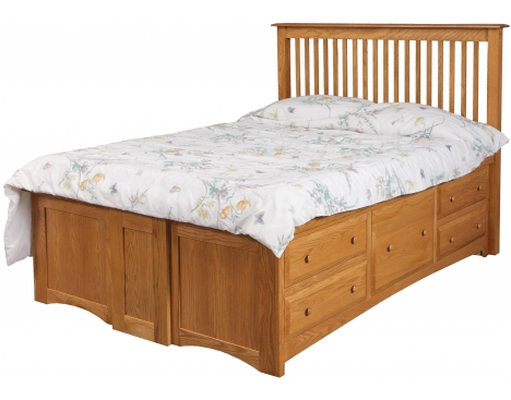 Simplicity Queen Pedestal Bed w/10 Drawers (5 per side) Image