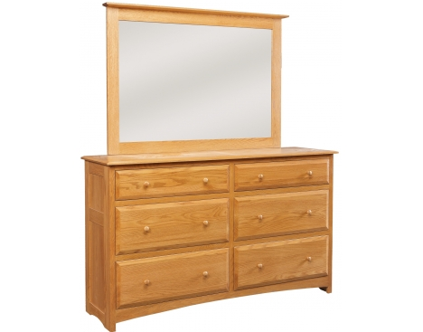 Simplicity 6-Drawer Double Dresser with Tall Wide Mirror Image