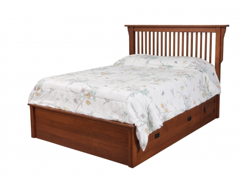 "Mission Queen Pedestal Bed w/ 60"" Wide Drawers Image"