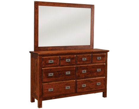 Lewiston 8-Drawer Double Dresser w/ Tall Wide Mirror Image