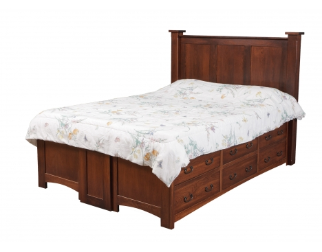 Treasure Queen Pedestal Bed w/ 6 Drawers Per Side Image