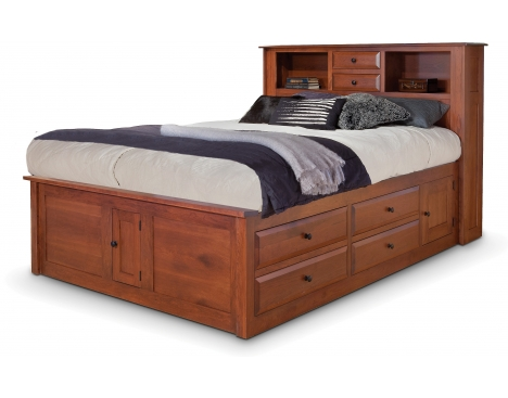 Simplicity Queen Captain's Bed w/ Bookcase Headboard and Low Footboard Image